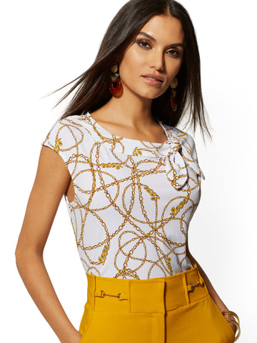 Link-Print Bow Accent Top - 7th Avenue in Paper White