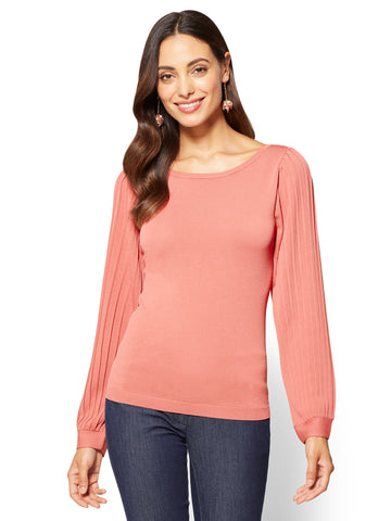 7th Avenue - Pleated-Sleeve Scoopneck Sweater in Old Rose