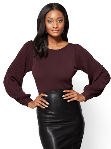7th Avenue - Pleated-Sleeve Sweater in True Burgundy