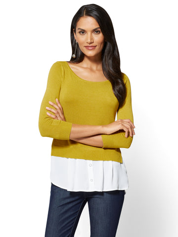 7th Avenue - Crewneck Twofer Sweater in Nouvea Green