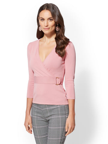 7th Avenue - V-Neck Wrap Sweater in Baroque Pink