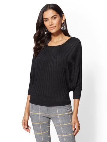 7th Avenue - Metallic Dolman Sweater in Black