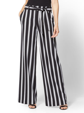 7th Avenue Pant - Black & White Stripe Palazzo