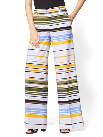 Palazzo Pant - Stripe in Paper White