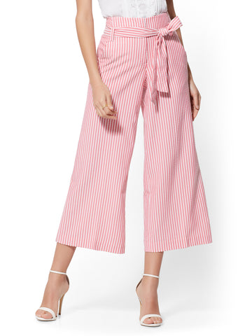 ae26f4ce31 New York & Company Pink Stripe Madie Crop Pant - 7th Avenue in Rose Spice