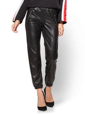 Faux-Leather & Ponte Jogger - Black  in Black