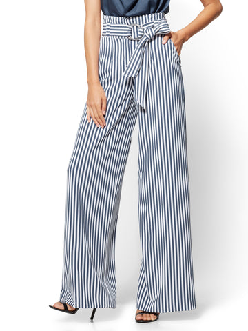 7th Avenue Pant - Paperbag Palazzo - Stripe in Harbor Blue