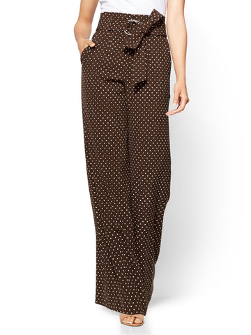 7th Avenue Pant - Paperbag Palazzo - Dot Print in Dark Brown