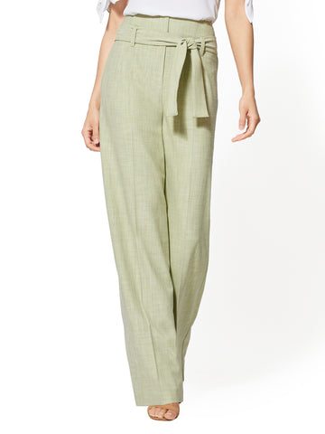 7th Avenue Pant - Paperbag-Waist Palazzo in Twisted Lime