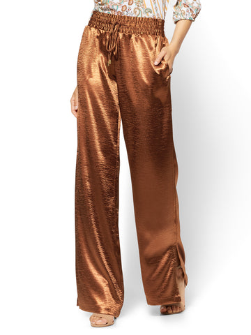 Pull-On Satin Palazzo Pant - Brown in Cider Brown