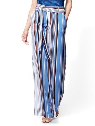7th Avenue Pant - Palazzo - Stripe in Pure Blue
