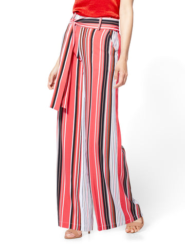 7th Avenue Pant - Palazzo - Stripe in Papaya