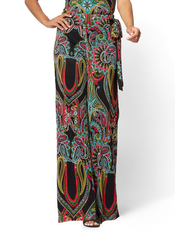 Pull-On Palazzo Pant - Black - Paisley in Black