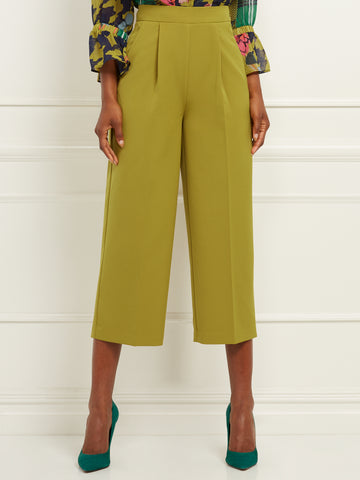 Crop Wide-Leg Pant - 7th Avenue in High Line Green