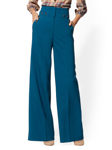 7th Avenue Pant - Button-Accent Palazzo in Boat House Blue