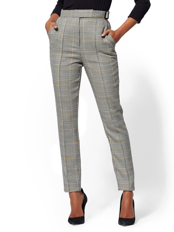 7th Avenue Pant - Belted Plaid Slim Leg in Yellow