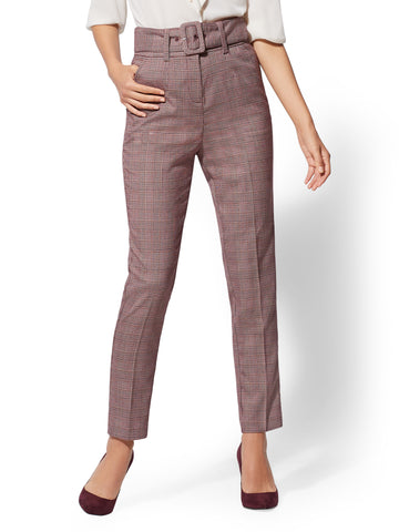 7th Avenue - High-Waist Ankle Pant in True Burgundy
