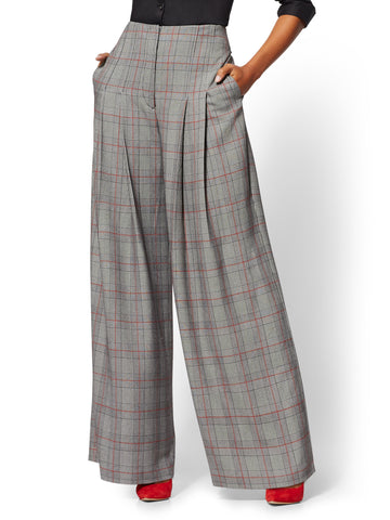 7th Avenue Pant - Plaid High-Waist Palazzo in Red