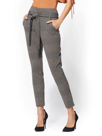 7th Avenue - The Madie Pant - Plaid in Caramel Brown