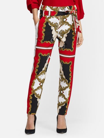 7th Avenue - The Madie Pant - Scarf Print in Coco Red