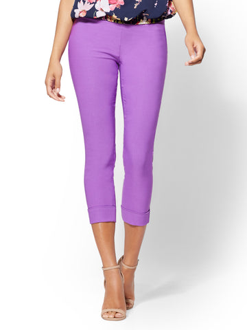 7th Avenue Pant - High-Waist Pull-On Crop in Purple Orchid