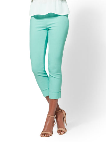 7th Avenue Pant - High-Waist Pull-On Crop in Green Opal