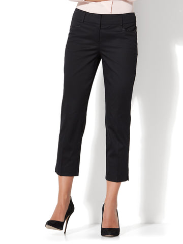 7th Avenue Pant - Crop Straight Leg - Signature in Black