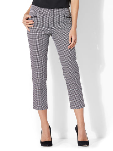 7th Avenue Pant - Crop Straight Leg - Signature - Grid Print in Black & White