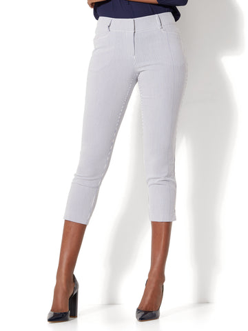 7th Avenue Pant - Crop Straight Leg - Signature - Stripe in Grand Sapphire