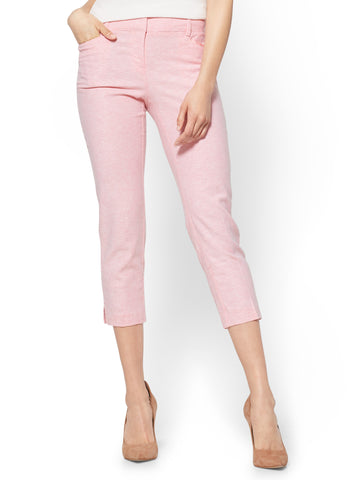 7th Avenue Pant Crop Straight Leg Signature in Peach Blossom
