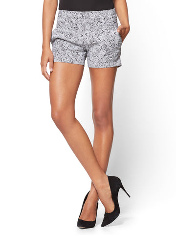 Pull-On 4 Inch Short - Signature - Paisley Print in Black