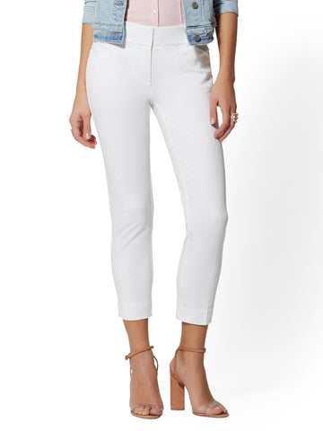 Audrey Crop Slim Leg Pant in Optic White