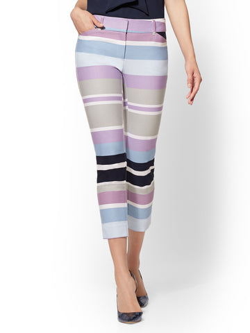 Audrey Crop Pant - Striped Slim Leg in Grand Sapphire