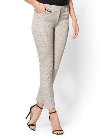 Audrey Ankle Pant - Tan Dot Print in Driftwood