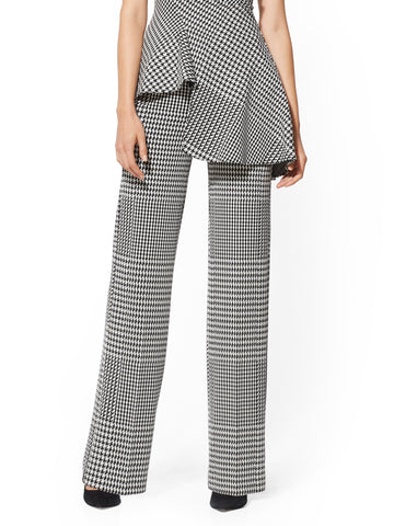 7th Avenue Pant - Houndstooth Wide-Leg Ponte in Black/White