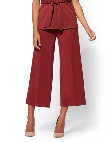 7th Avenue Pant - Pull-On Crop Palazzo in Old Brick Road