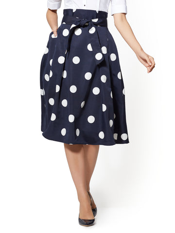 7th Avenue - Navy Paperbag-Waist Skirt in Grand Sapphire