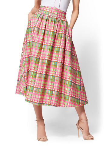 7th Avenue - Plaid Full Skirt in Pink Flamingo