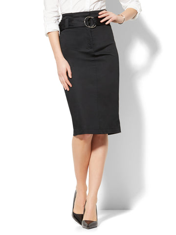 Paperbag-Waist Pencil Skirt in Black