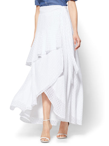 7th Avenue Ruffled Wrap-Front Maxi Skirt in Paper White