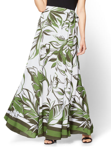 Maxi Skirt - Abstract Floral Print in Paradise Green