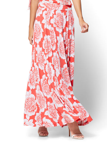 Slit-Front Maxi Skirt - Red Floral in Ultra Red