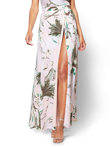 7th Avenue Wrap Maxi Skirt Tropical Print in Cherry Blossom