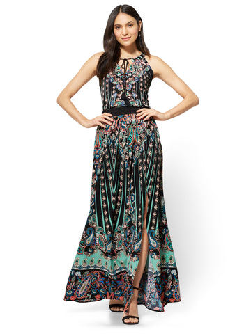 Maxi Skirt - Black Paisley in Black