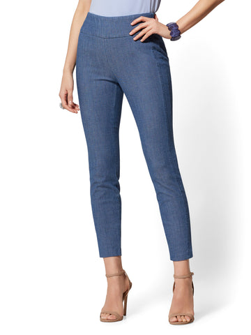 High-Waist Pull-On Ankle Pant - Blue in Medium Blue