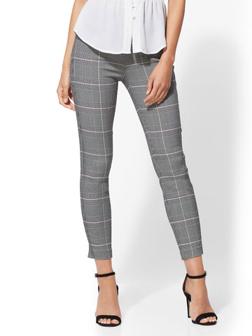 7th Avenue Pant - Plaid High-Waist Pull-On Ankle in Pink