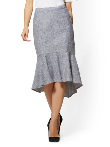 7th Avenue - Hi-Lo Fit & Flare Skirt in Grand Sapphire