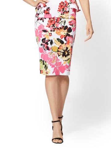 7th Avenue - Floral Pull-On Pencil Skirt in Paper White