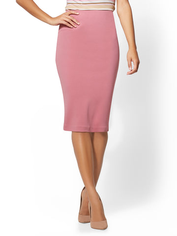 7th Avenue - Pull-On Pencil Skirt - Mauve in Ancient Rose