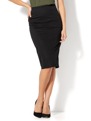 7th Avenue - Lace-Up Pencil Skirt in Black